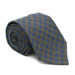 Doriani Khaki Printed Wool Tie