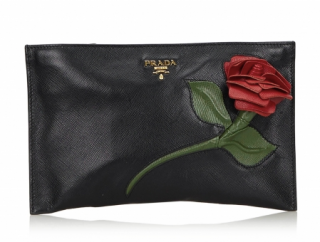 Prada Saffiano Rose Applique Leather Clutch Bag