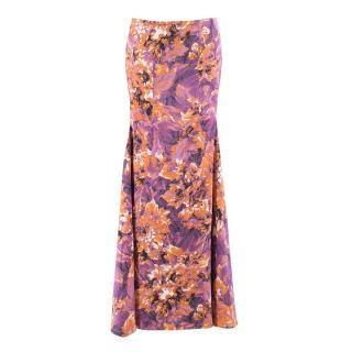 Just Cavalli Purple & Orange Floral Printed Fit & Flare Skirt