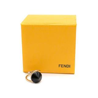 Fendi Gold Tone Ring with Black Cone