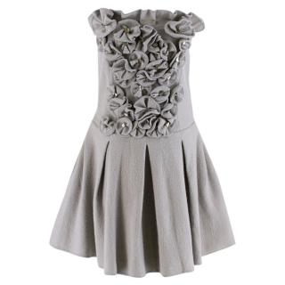 Emporio Armani Wool Grey Floral Embellished Strapless Dress