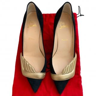 Christian Louboutin Black Suede Low Heeled Wing Pumps