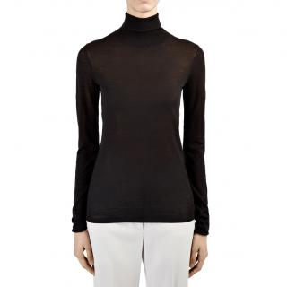 Joseph Black Sheer Knit Rollneck Sweater