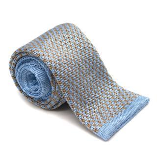Frasi Blue Silk Knit Square Tie