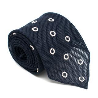 Drake's Navy Silk Knit Tie