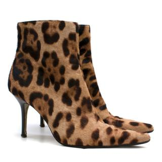 Dolce & Gabbana Leopard Print Pony Hair Ankle Boots