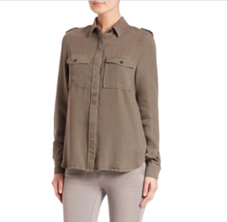 Frame Le Military khaki lyocell shirt