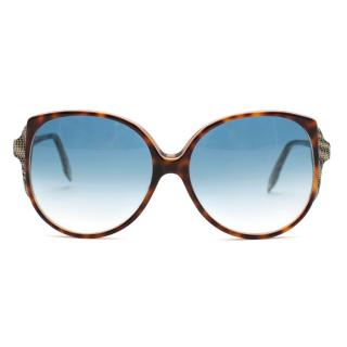 Victoria Beckham Gradient Blue Tortoiseshell & Lizard Sunglasses