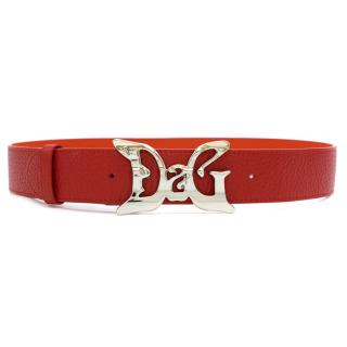 D&G Red Leather Butterfly Buckle Belt