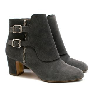 Rupert Sanderson Grey Suede Heeled Ankle Boots