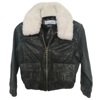 Dior Boy's 4 Years Leather & Shearling Bomber Jacket