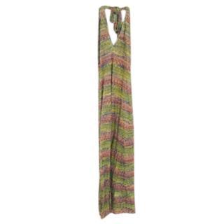 Missoni Green & Pink Halterneck Maxi Dress