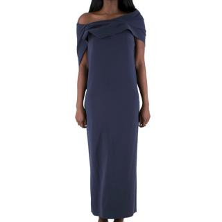 Balenciaga draped off shoulder layered navy gown