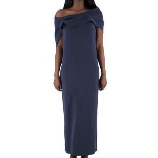 Balenciaga draped off shoulder layered navy gown
