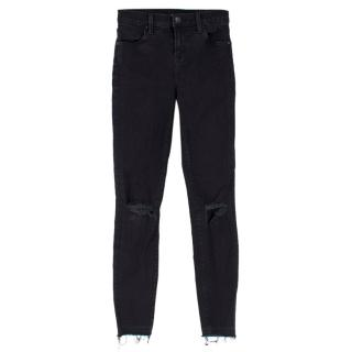 J Brand Black High Rise Alana Crop Distressed Jeans