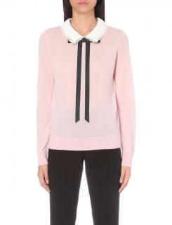 Claudie Pierlot Pink Lace Trim Bow Tie Neck Sweater