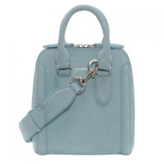 Alexander McQueen blue croc-effect calf leather small Heroine bag