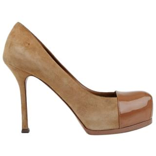 YSL Nude Suede and Patent Leather Tribute Pumps
