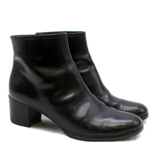 Chanel Black Leather Heeled Ankle Boots