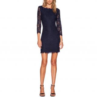 Diane Von Furstenberg Navy Zarita Lace Mini Dress