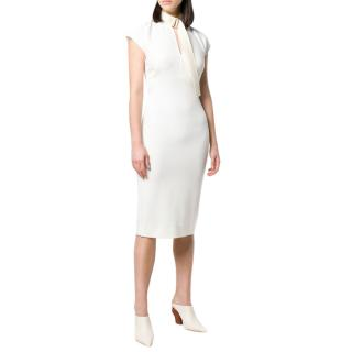 Victoria Beckham Ivory silk fitted high neck midi dress