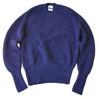 Alexander Lewis Navy Ribbed Knit Mohair Blend Jumper