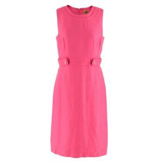 Tory Burch Pink Linen Blend Shift Dress