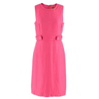 Tory Burch Pink Linen Blend Shift Dress