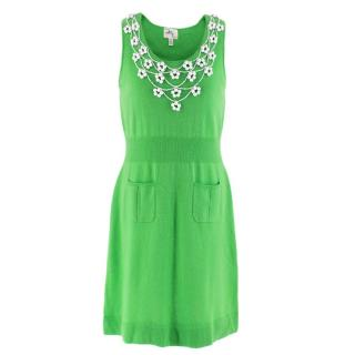 Milly Green Cashmere Knit Embellished Dress