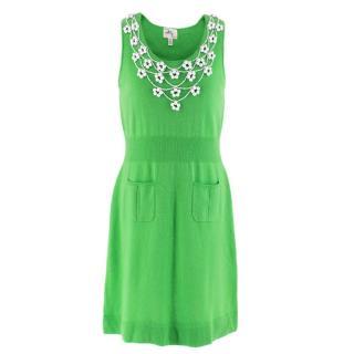 Milly Green Cashmere Knit Embellished Dress