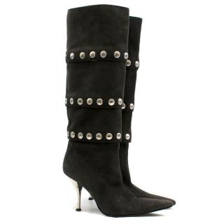 Dolce & Gabbana Grey Suede Studded Tall Boots