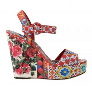 Dolce & Gabbana Caretto Rose Print Wedges
