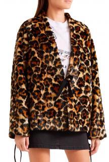 McQ Faux Fur Leopard Print Coat