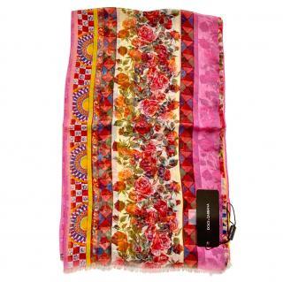 Dolce & Gabbana Caretto Rose Print Silk Wrap Scarf