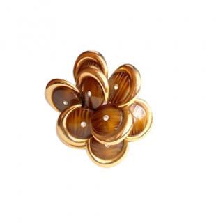 Dior Vintage Brown & Gold Crystal Brooch