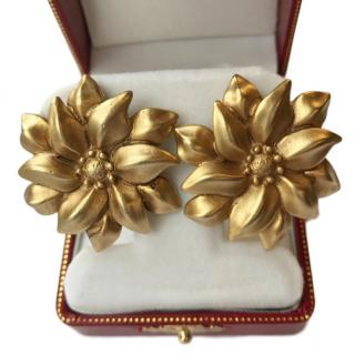 Oscar De La Renta Vintage Floral Clip-On Earrings