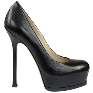 Saint Laurent black grained leather tribtoo 105 pumps