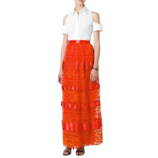 Temperley Red Lace Tiered Maxi Skirt