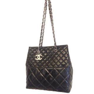 Chanel Black Patent Leather Quilted Tote