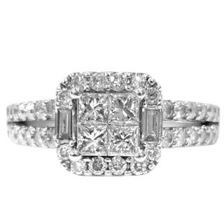 Princess, baguette and round diamond white gold ring - 1ct