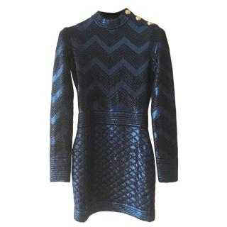 Balmain Blue Metallic Knit Mini Dress