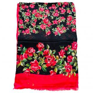 Dolce & Gabbana Cashmere Blend Rose Print Wrap Scarf