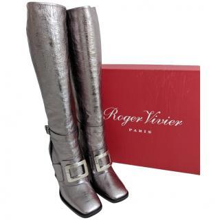 Roger Vivier Metallic Buckle Detail Long Boots