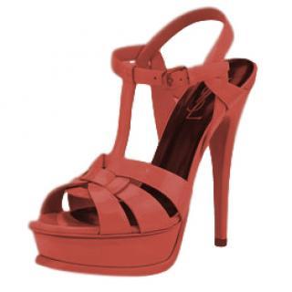 Saint Laurent Brick Red Patent Tribute Sandals