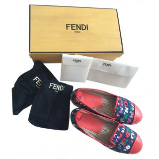 Fendi red printed canvas espadrilles