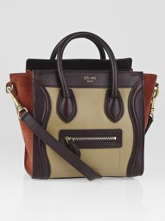 CELINE Tricolor Calfskin Leather Suede Nano Luggage handbag crossbody bag
