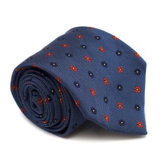 E. Marinella Blue Floral Print Silk Tie
