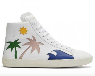 Saint Laurent Palm Tree High-Top Sneakers In White