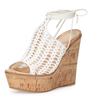 Gianvito Rossi Crochet and Mesh Wedge Sandals