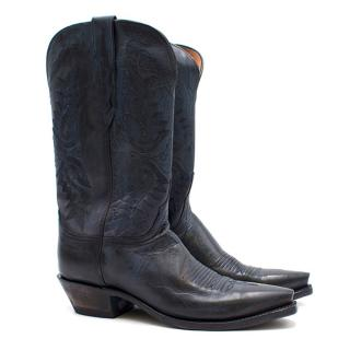 Lucchese Bootmaker Pointed Blue Leather Western Boots